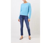 Rippstrick-Cashmere-Pullover Hellblau