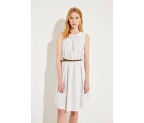 Gestreiftes Kleid Weiß/Beige