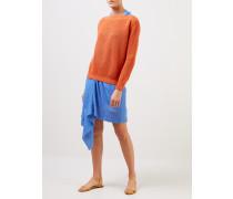 Baumwoll-Cashmere-Pullover mit U-Boot Kragen Orange