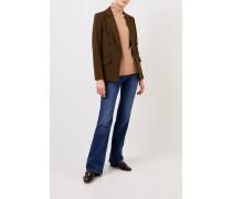 Taillierter Blazer mit Logo-Knöpfen Khaki