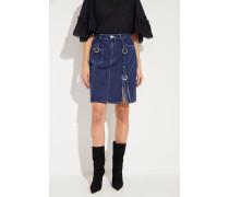 Jeansrock mit geflochtenen Details Blau 94% Baumwolle - 5% Sonstige Materielien - 1% Elasthan Futter: -