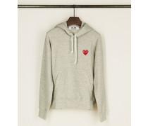 Hoodie mit Herz-Emblem Grau - 100% Baumwolle