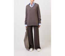 Woll-Cashmere-Pullover mit V-Neck 'Elaine' Grau