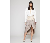 Hemdblusen-Kleid mit Bindedetail 'La Robe Melao' Weiß/Beige - 100% Baumwolle