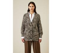 Mohair-Cashmere-Cardigan mit Paillettendetails Grau - Cashmere