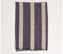 Seiden-Schal mit Sreifen Blau/Grau