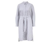 Blusenkleid mit Bindegürtel gestreift /Weiß