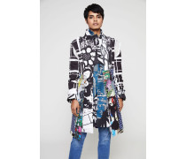 Kurzer Mantel mit Print Schwarz/Multi