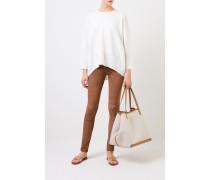 Cashmere-Pullover mit verkürzter Front Crème