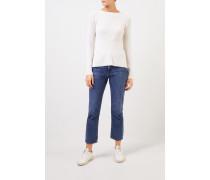 Cashmere-Pullover mit Strickdetail Weiß