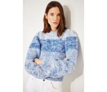 Handstrick Mohair-Woll-Pullover Blau