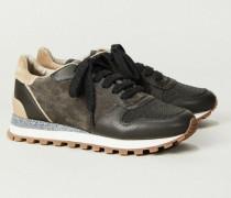 Sneaker mit strukturiertem Leder Grau - Leder
