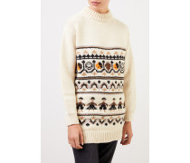 Handstrick Woll-Alpaca -Pullover mit Muster Ecu/Multi