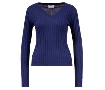 Pullover mit V-Ausschntt aus Baumwoll-Seiden-Gemisch Blau