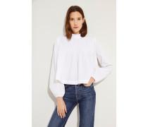 Poplin-Bluse mit Rüschen Weiß