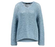 Mohair-Seiden-Pullover 'Lone' aus Grobstrick Blau