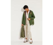 Baumwoll-Seiden-Jacke mit Perlenverzierung Grün