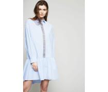 Hemdblusenkleid mit Glitzerfäden Hellblau - 100% Baumwolle
