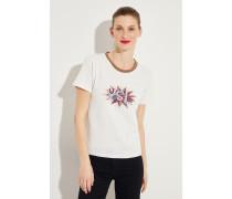 T-Shirt mit frontalem Logo-Detail Hellgrau -