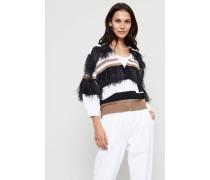 Gestreifter Baumwoll-Leinen Cardigan mit Federn Multi - Seide