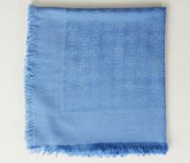 Woll-Seiden-Schal mit Jacquard Blau - Seide