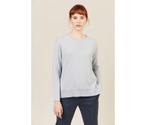 Oversize Woll-Seiden-Pullover Blau