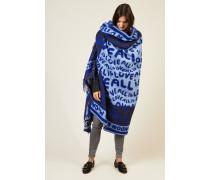 Woll-Decke mit Schriftzug Blau