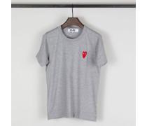 T-Shirt mit Herz-Emblem Grau - 100% Baumwolle