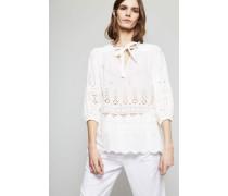 Spitzenbluse 'Kali Broiderie Tie Blouse' Weiß - 100% Baumwolle