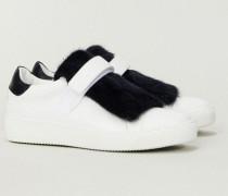 Leder-Sneaker 'Lucie' mit Felldetail Weiß/Blau - Leder