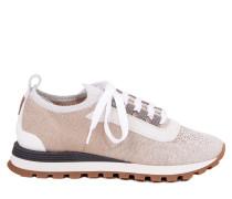 Sneakers aus glitzerndem Baumwollstrick Grau/Beige