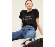 T-Shirt mit Print in Schwarz