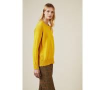 Woll-Pullover mit Knopfdetails Gelb