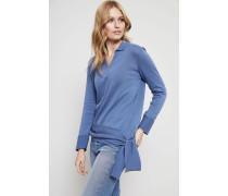 Baumwoll-Pullover mit Bindeelement Indigo - 100% Baumwolle