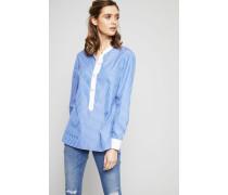 Gestreifte Bluse 'Spencer' mit Logo-Knöpfen Blau/Weiß - 100% Baumwolle