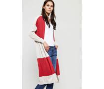 Langer Baumwoll-Cardigan Beige/Rot - 100% Baumwolle