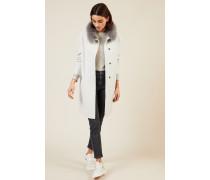 Woll-Mantel mit Pelzkragen Grau