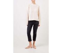 Woll-Cashmere-Pullover mit Zopfmuster Weiß