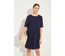 Baumwoll-Kleid mit Rüschendetail Marineblau