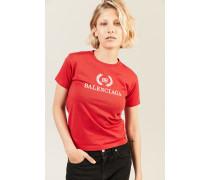T-Shirt mit Logoprint Rot -