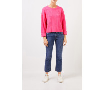 Cashmere-Pullover mit Zopfmuster Pink