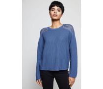 Kurzer Pullover Indigo Blau - 100% Baumwolle