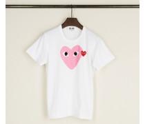 T-Shirt mit Herz-Emblem Pink - 100% Baumwolle
