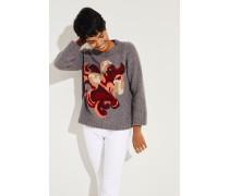 Woll-Pullover mit Muster Grau/Multi