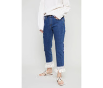 Jeans 'Connor' mit Fransen-Details Mittelblau