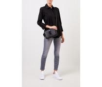 Klassische Bluse mit breiten Manschette Schwarz