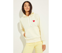 Hoodie mit Herz-Emblem Gelb