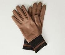 Lederhandschuhe mit Strickeinsatz Beige/Grau - Leder