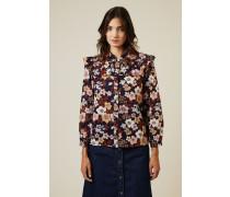 Baumwoll-Seidenbluse mit floralem Print Multi - 100% Baumwolle