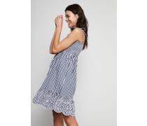 Sommerkleid mit Karomuster 'Gingham' Navy/Weiß - 100% Baumwolle